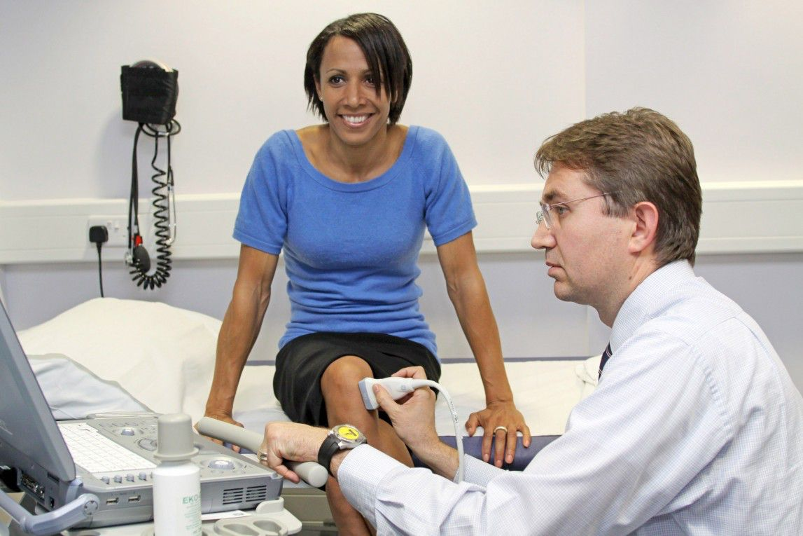 Dame Kelly Holmes has her knee scanned