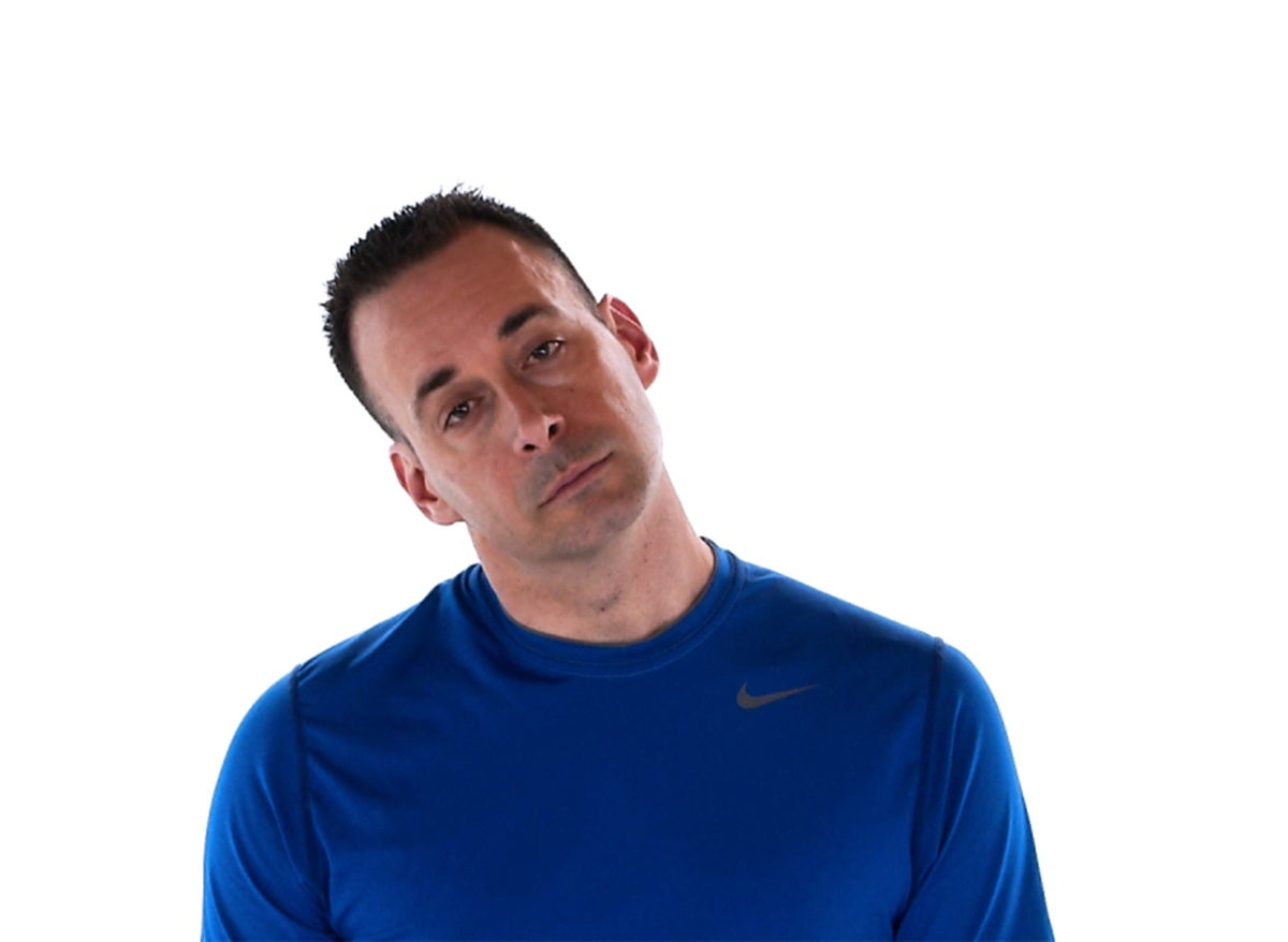 Physiotherapy neck exercise tilted right