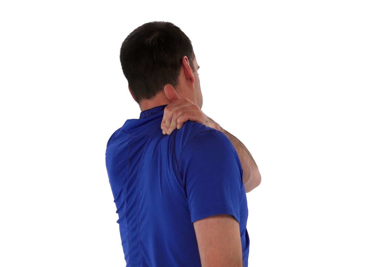 Physiotherapy self massaging shoulder