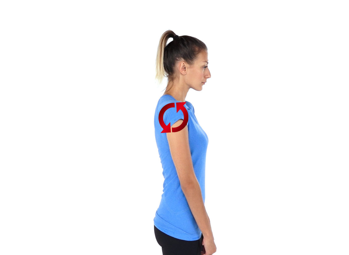 Physiotherapy exercise shoulder roll backwards