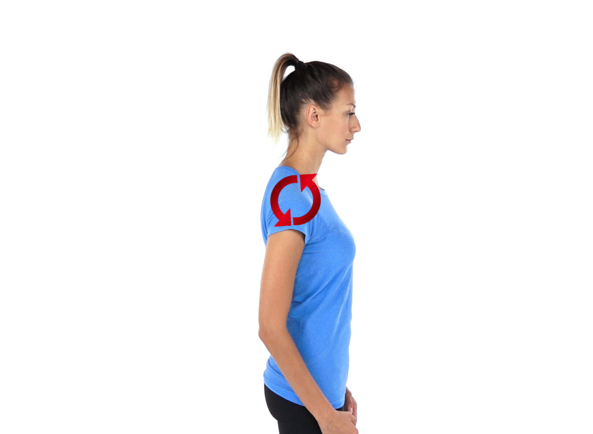 Physiotherapy exercise shoulder roll forwards